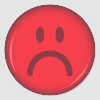 Red unhappy pouty angry smiley face classic round sticker