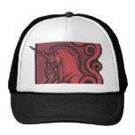 Red Unicorn Black Trucker Hat Cap