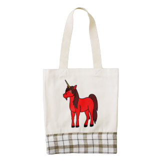 Red Unicorn with Dark Mane Zazzle HEART Tote Bag