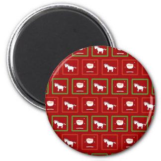 Red unicorns santa claus pattern 2 inch round magnet