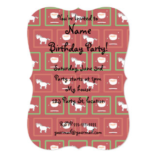 Red unicorns santa claus pattern 5x7 paper invitation card