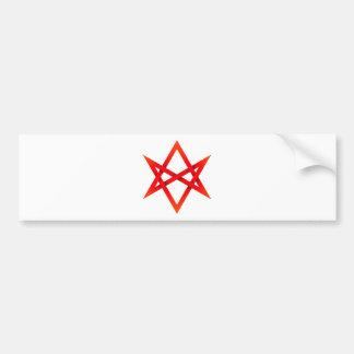 Red Unicursal Hexagram 3D Bumper Sticker