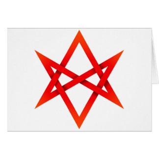 Red Unicursal Hexagram 3D Card