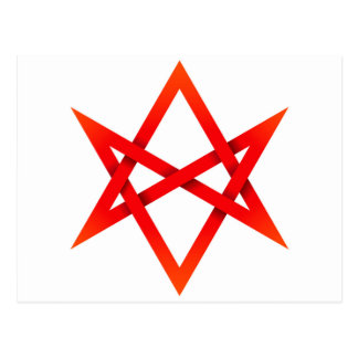 Red Unicursal Hexagram 3D Postcard
