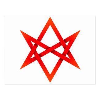 Red Unicursal Hexagram 3D Postcard
