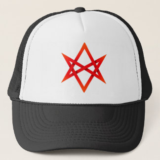 Red Unicursal Hexagram 3D Trucker Hat