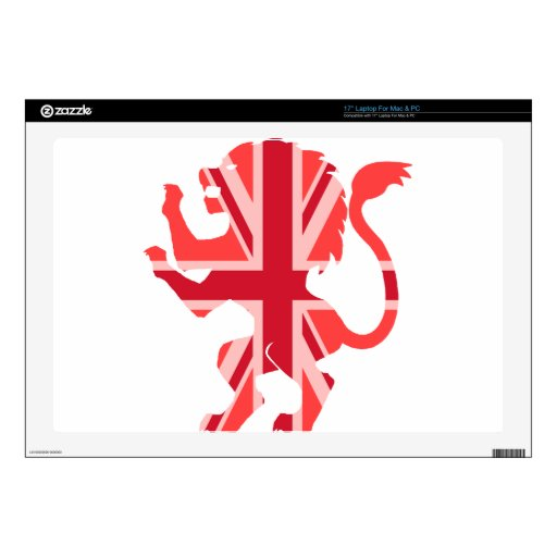 Red Union Jack Lion Decal For Laptop