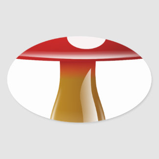 Red Unique Mushroom Oval Stickers