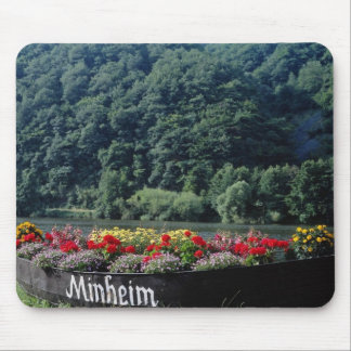 Red Unused boat used as flower bed, Mannheim, Germ Mousepad