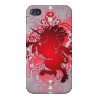 Red Urban Fantasy Faux Unicorn 4g I iPhone 4/4S Cover