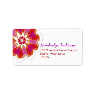 Red Valentine Flower Love Hearts Address Labels