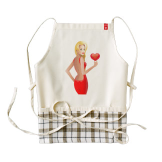 Red Valentine Girl Zazzle HEART Apron