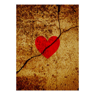Red valentine heart on a cracked wall poster