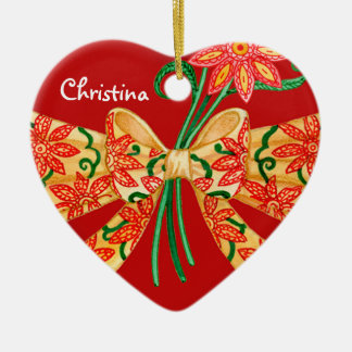 Red Valentine Heart with bow Customizable Name Ceramic Ornament