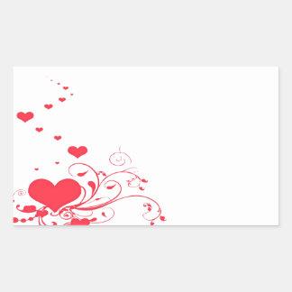 Red Valentine Hearts on A White Background Rectangular Sticker