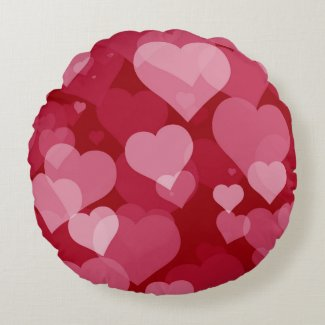 Red Valentine Hearts Round Pillow