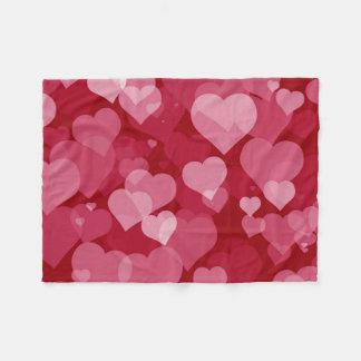 Red Valentine Hearts Small Fleece Blanket