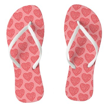 Beach Themed Red Valentine's Hearts Flip Flops