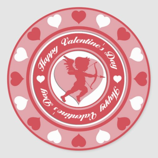 Red Valentine's Day Cupid and Hearts Classic Round Sticker