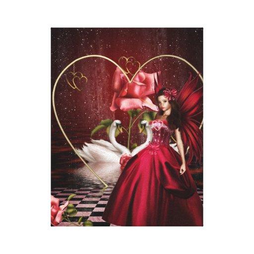Red Valentine's Day Fairy Canvas Print