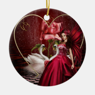 Red Valentine's Day Fairy Double-Sided Ceramic Round Christmas Ornament