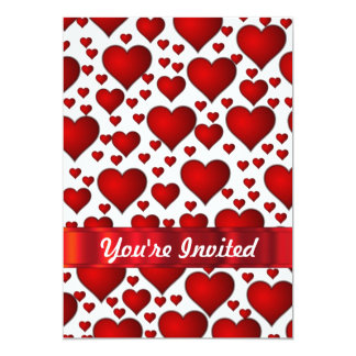 "Red valentines heart 5"" x 7"" invitation card"