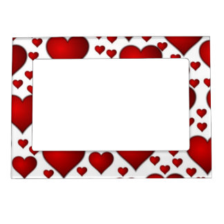 Red valentines heart frame magnets