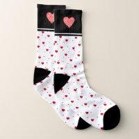 Red valentines Hearts Design Socks
