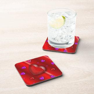 Red Valentines love Hearts pattern Beverage Coaster