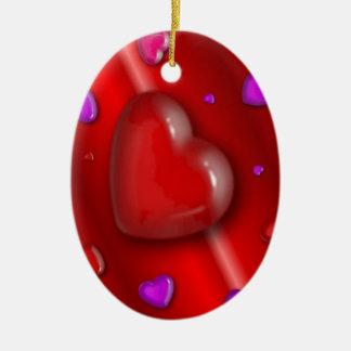 Red Valentines love Hearts pattern Ceramic Ornament