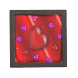 Red Valentines love Hearts pattern Keepsake Box