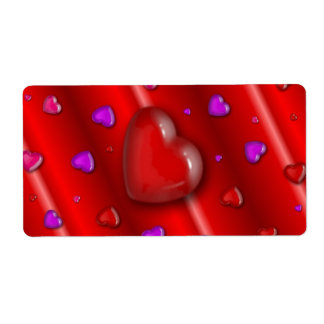 Red Valentines love Hearts pattern Label