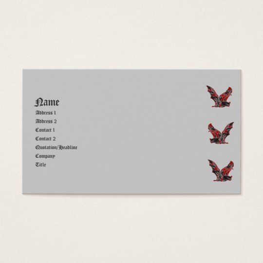 Red Vampire Bats Gothic Business Card