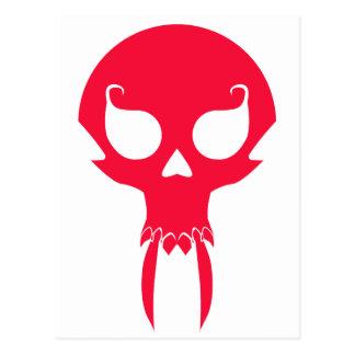 RED VAMPIRE SKULL POSTCARD