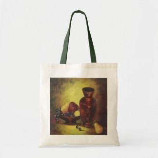 Red Vase and Fruit Canvas Tote Bag