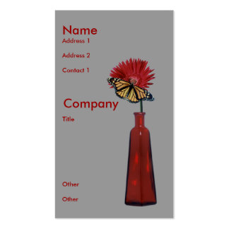 Red Vase,  Flower, and Butterfly Business Card