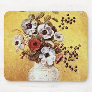 Red Vase of Flowers Odilon Redon flowers Mouse Pads