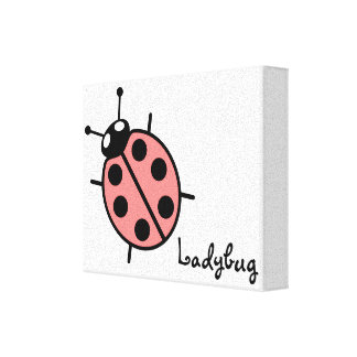 Red Vector Ladybug Stretched Canvas Print