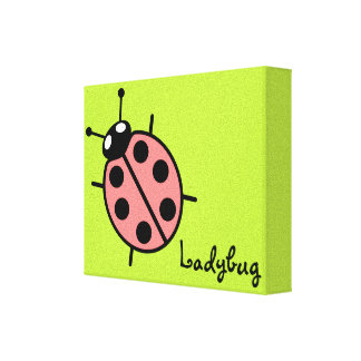 Red Vector Ladybug (Green Background) Canvas Print