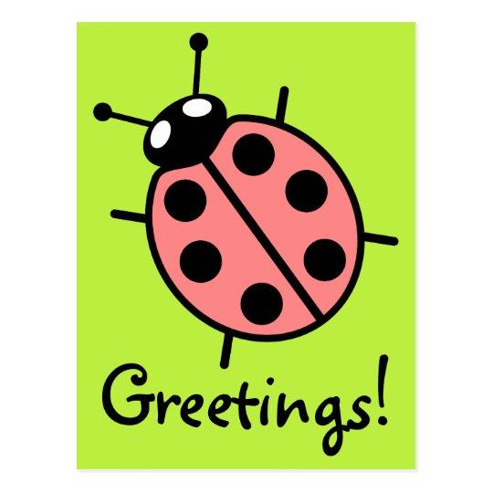 Red Vector Ladybug (Green Background) Postcard