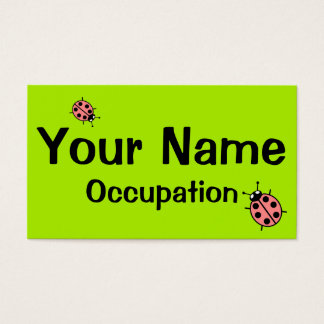 Red Vector Ladybugs (Green Background) Business Card
