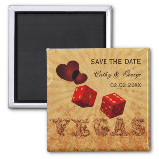red Vegas Vintage save the date magnets