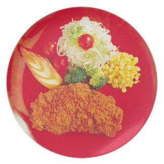 Red Veggie Platter Plate
