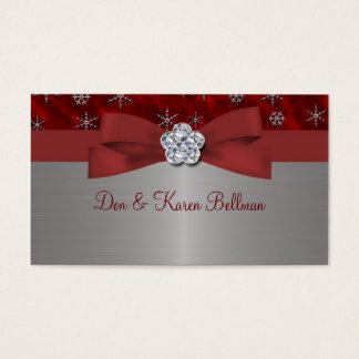Red Velour & Silver Snowflakes Business Card