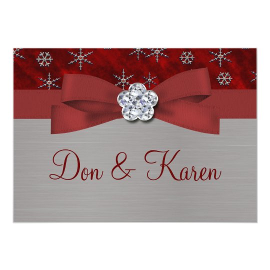 Red Velour & Silver Snowflakes Card
