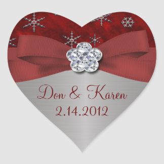 Red Velour & Silver Snowflakes Heart Sticker