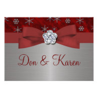 Red Velour & Silver Snowflakes Personalized Invitation