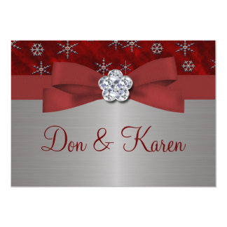 Red Velour & Silver Snowflakes 5x7 Paper Invitation Card