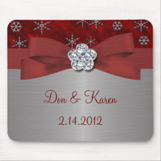 Red Velour & Silver Snowflakes Mouse Pad