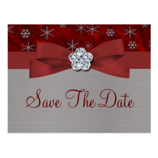 Red Velour & Silver Snowflakes Save The Date 3 Postcard